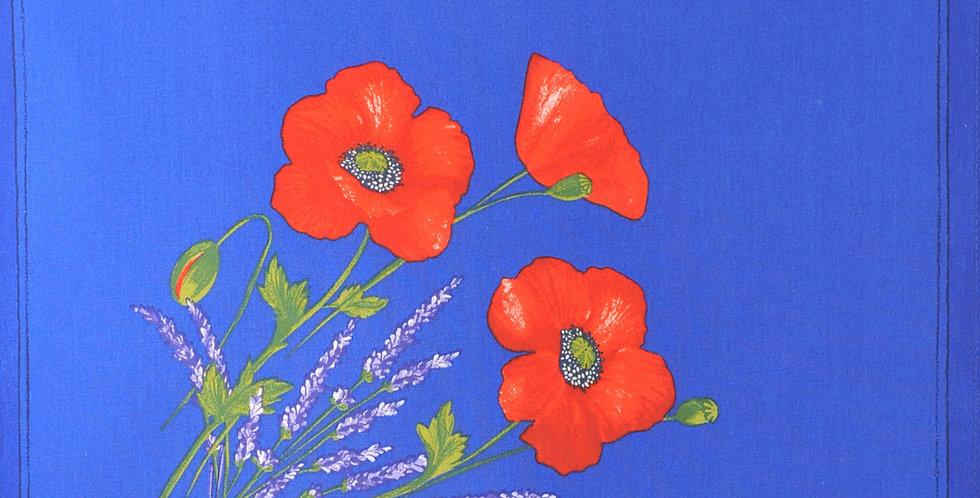 Blue Poppy & Lavender Printed Cotton Napkin
