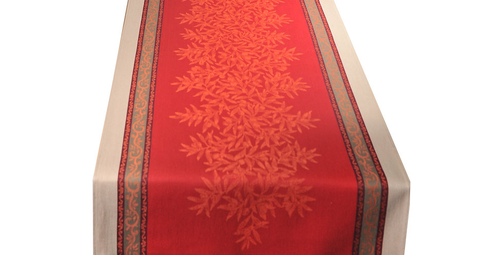 Red Olive Jacquard Woven Table Runner
