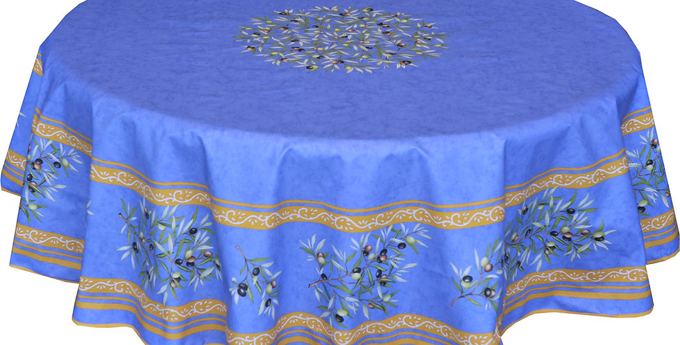 """Blue Clos Des Oliviers 70"""" Round Coated Cotton Tablecloth"""