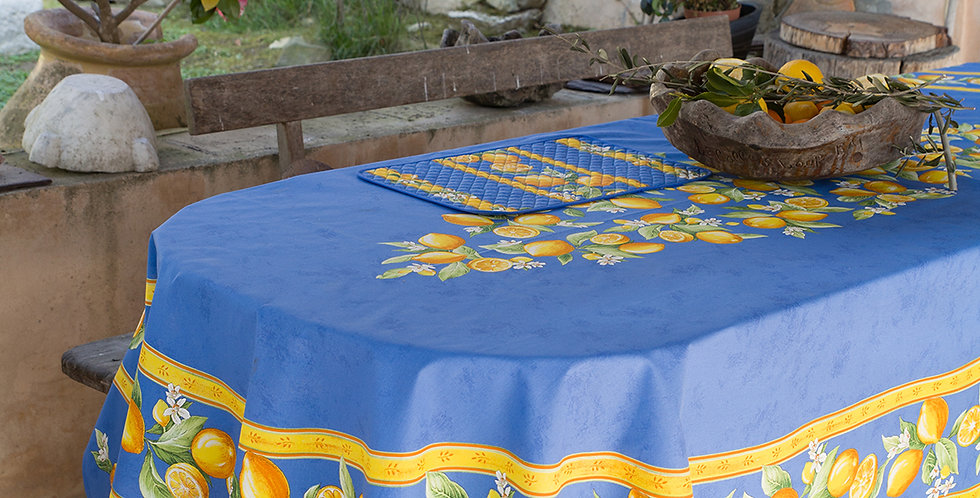 Blue Citron Center Design Coated Cotton Tablecloths