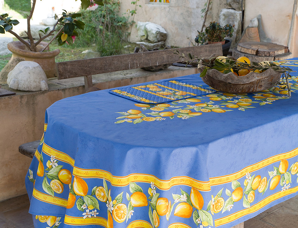 Blue Citron Center Design Coated Cotton Tablecloths
