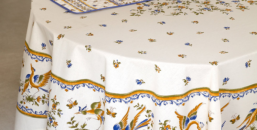 Blue Moustiers Center Design Coated Cotton Tablecloth