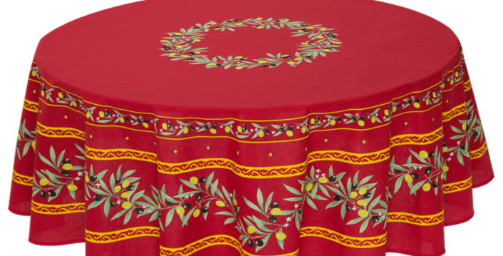 """Red Ramatuelle 70"""" Round Coated Cotton Tablecloth"""