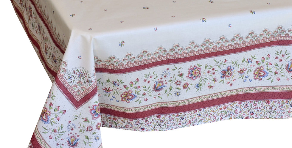 Ecru/Rose Beaucaire Coated Cotton Tablecloths