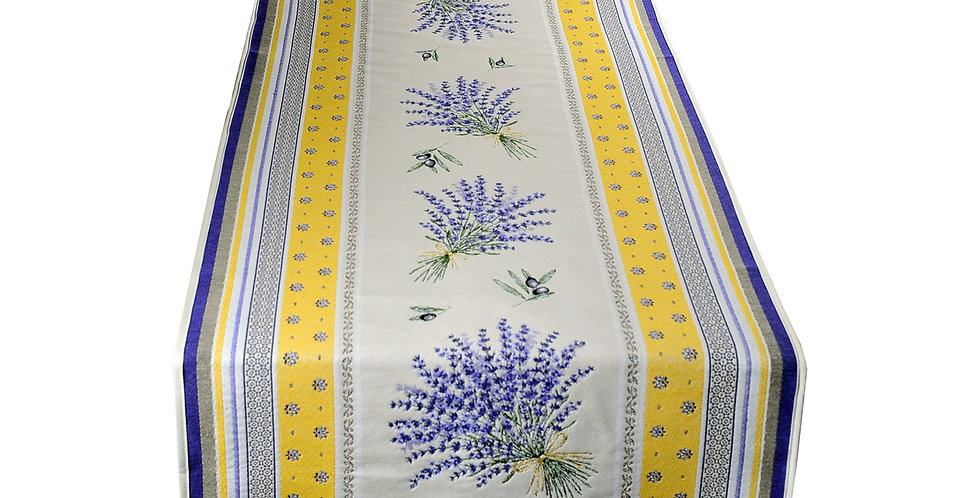 Yellow/Lavender Castillon Jacquard Tapestry Table Runner