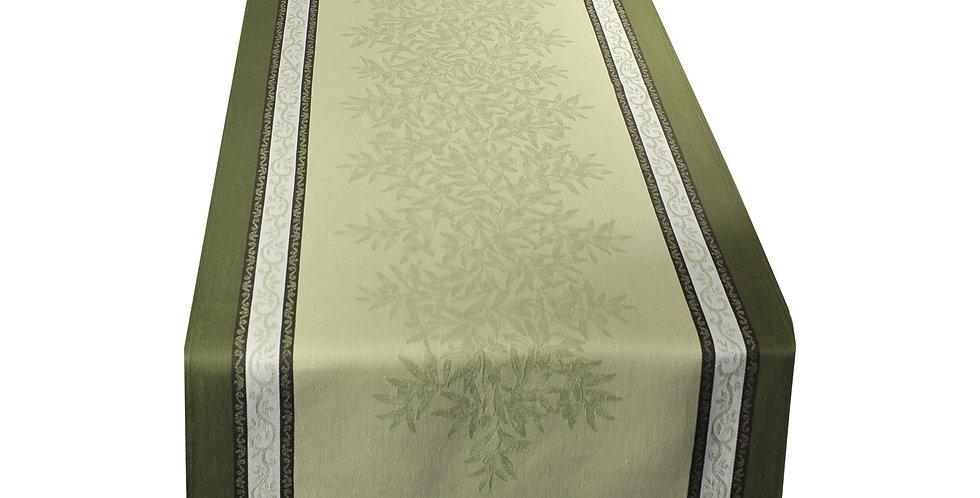 Green Olive Jacquard Woven Table Runner