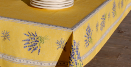 Yellow Valensole Center Design Coated Cotton Tablecloth