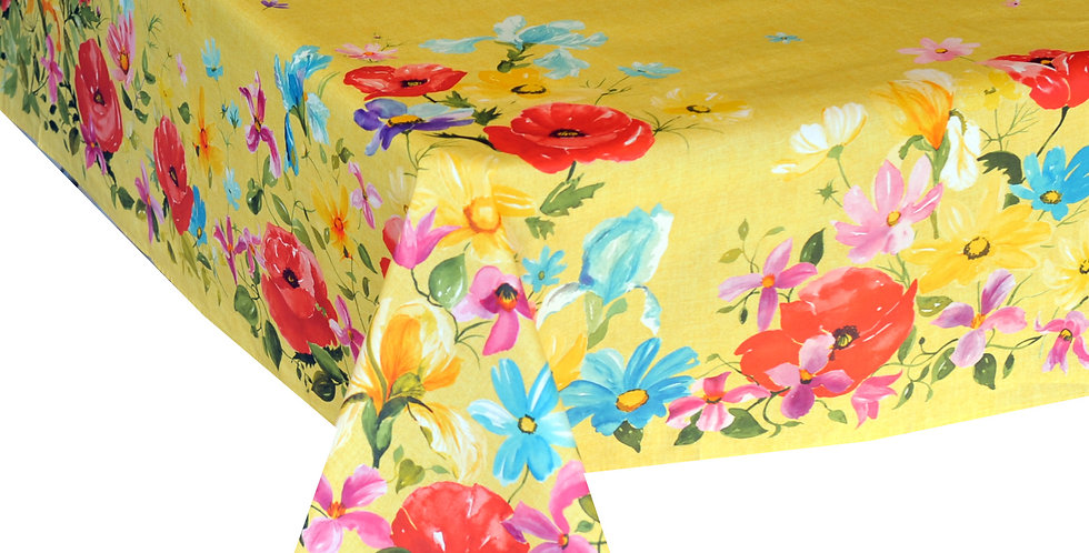 Yellow Poppies Coated Cotton Tablecloths