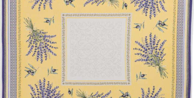 Yellow/Lavender Castillon Jacquard Tapestry Table Topper