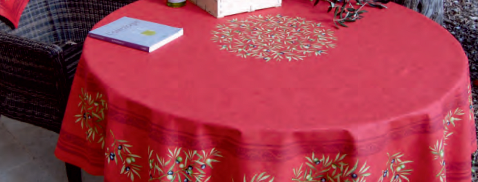 """Red Clos Des Oliviers 70"""" Round Coated Cotton Tablecloth"""