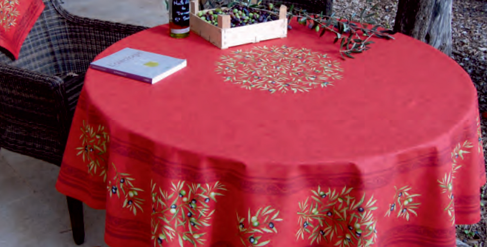 "Red Clos Des Oliviers 70"" Round Coated Cotton Tablecloth"