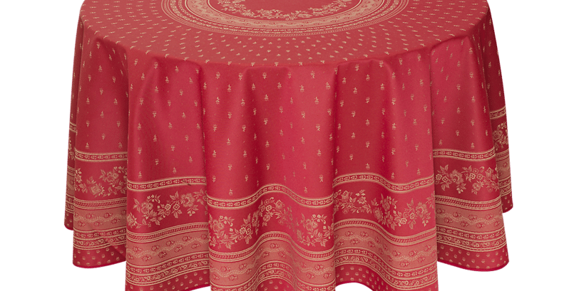 "Red Durance 90"" Round Jacquard Woven Tablecloth"