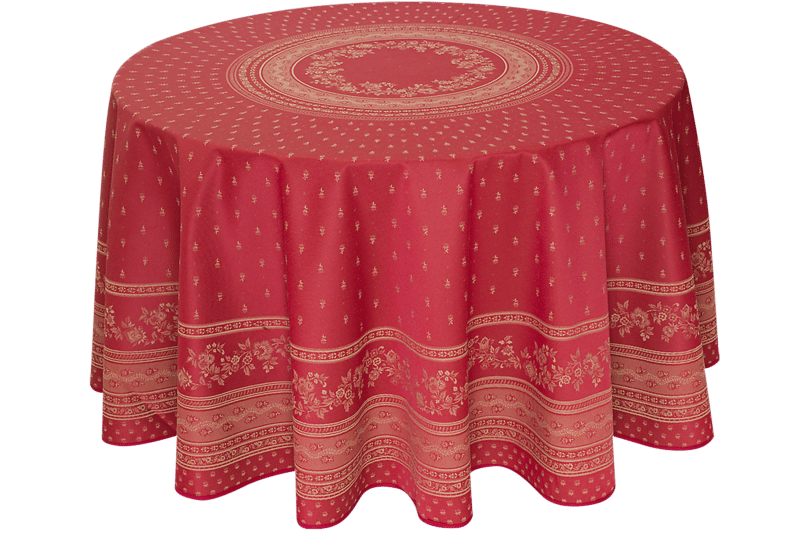 """Red Durance 90"""" Round Jacquard Woven Tablecloth"""