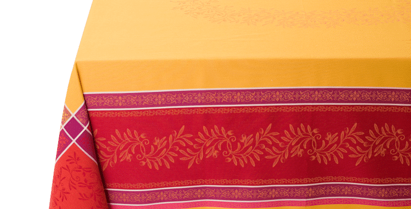 Red/Yellow Olivia Jacquard Woven Tablecloths