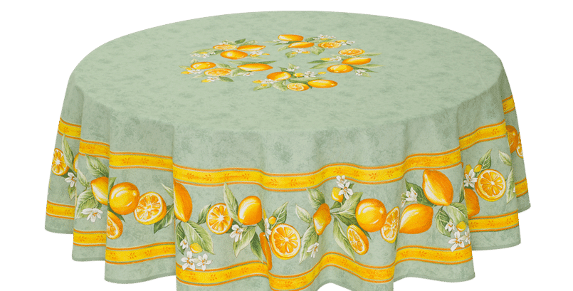 Green Citron Round Coated Cotton Tablecloths