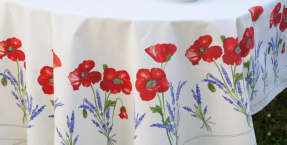 White Poppy & Lavender Center Design Coated Cotton Tablecloths