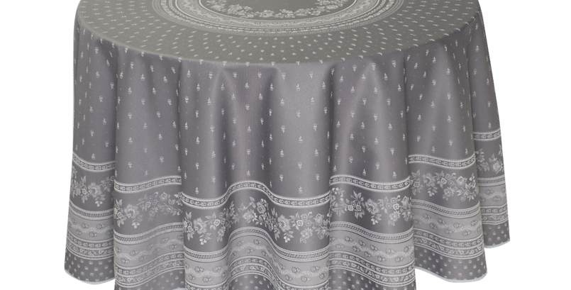 "Dark Grey Durance 90"" Round Jacquard Woven Tablecloth"