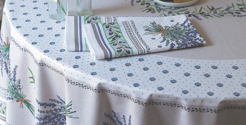 """French Tablecloths Coated 70"""" Round Ecru Lauris"""