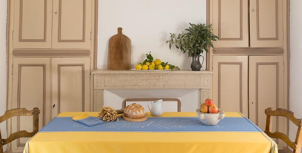 Blue/Yellow Grignan Jacquard Woven Tablecloths