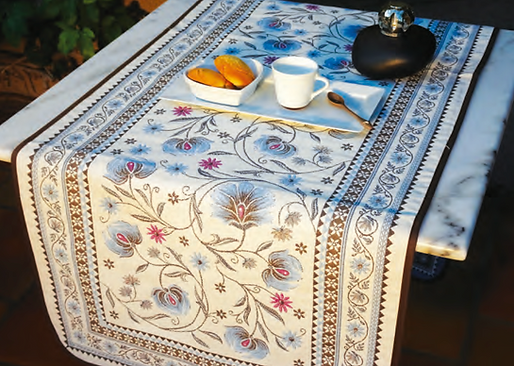 French table runner jacquard tapestry blue sillans