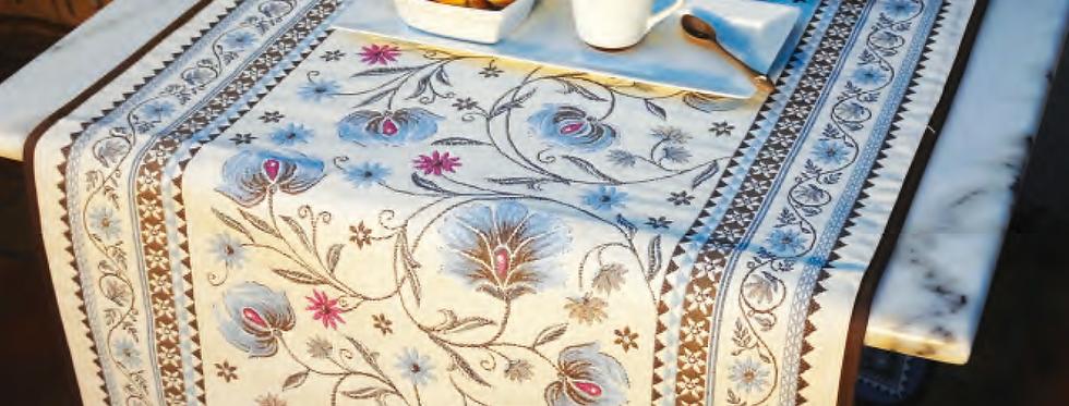 Blue Sillans Jacquard Tapestry Table Runner