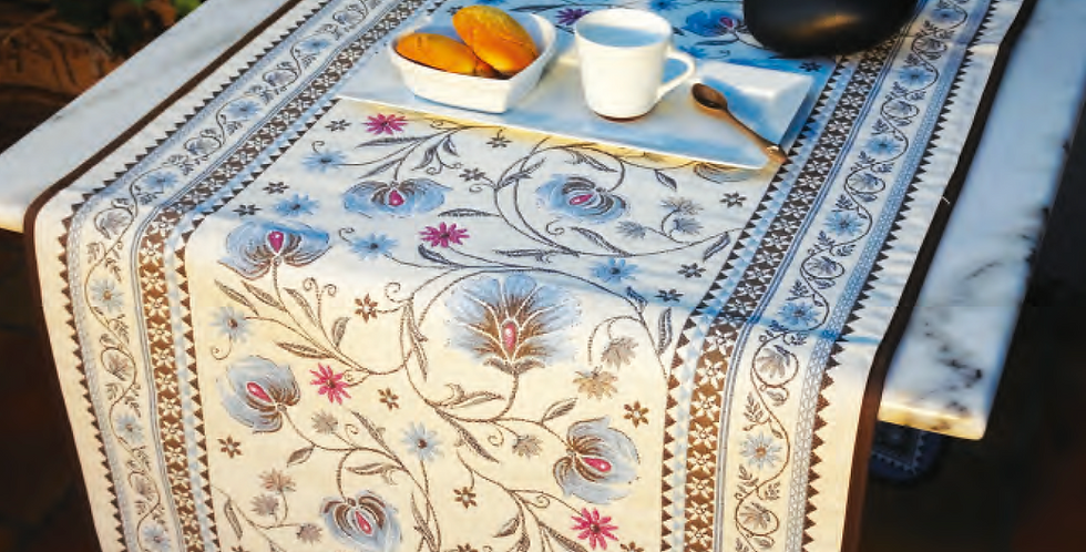 Blue Sillans Jacquard Tapestry Table Runner