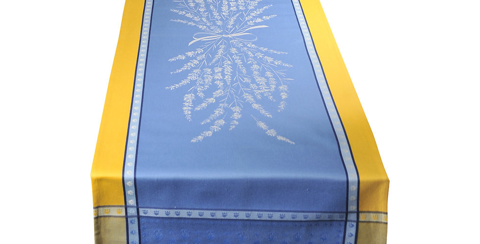 Blue/Yellow Grignan Jacquard Woven Table Runner