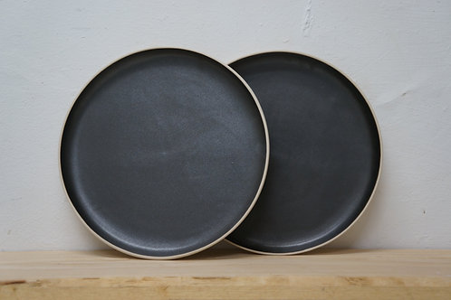 Set of 2 Matt black dinner plate