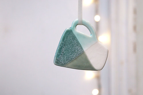 Green and grey mug decoration