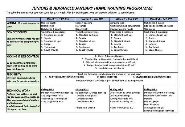 Juniors & Advanced - Home Training Plan.