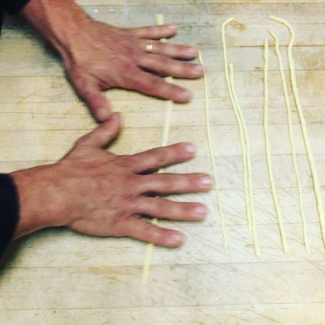 Making pici for lamb ragù