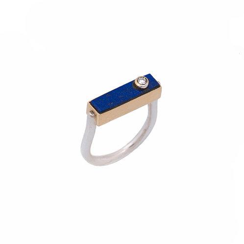 Anel Retângulo com Lápis Lazuli