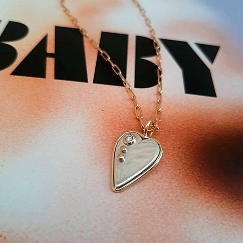 Pingente Coração com Diamante e Ouro