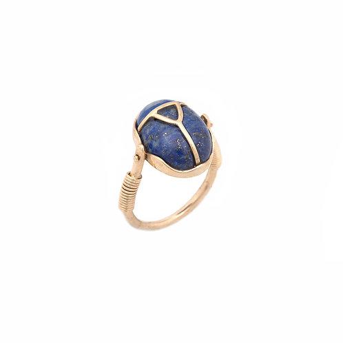 Anel Besouro com Lápis Lazuli