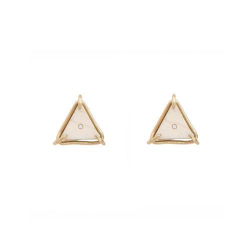 Brinco Triângulo com Osso e Diamante
