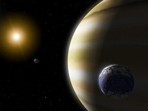 """This image shows an Earth-like """"exomoon"""" orbiting a gas giant planet in a star's habitable zone. (NASA/JPL-Caltech)"""
