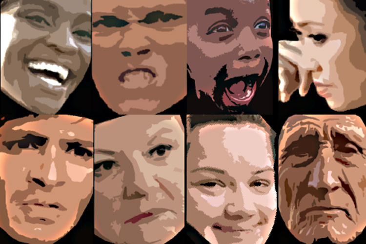 Facial expressions of emotion transcend geography and culture, new study shows. (Image by Alan Cowen)