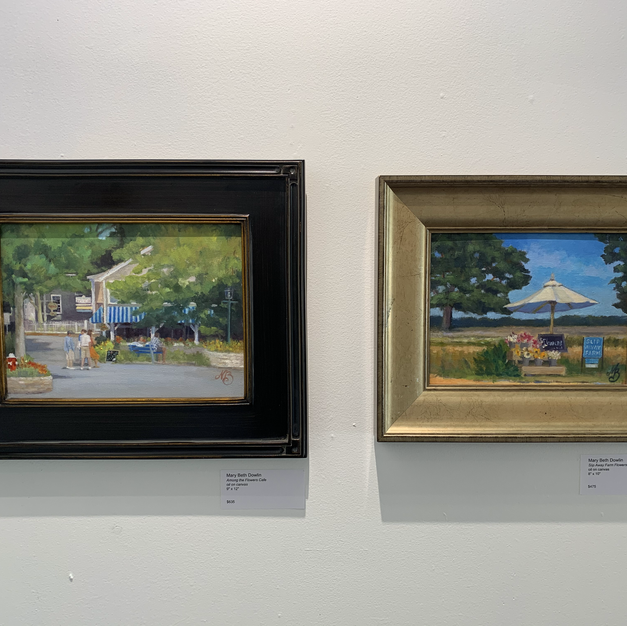 """From Left: Mary Beth Dowlin Among the Flowers Cafe oil on canvas 9"""" x 12""""  $635  Right: Mary Beth Dowlin Slip Away Farm Flowers oil on canvas 8"""" x 10""""  $475"""