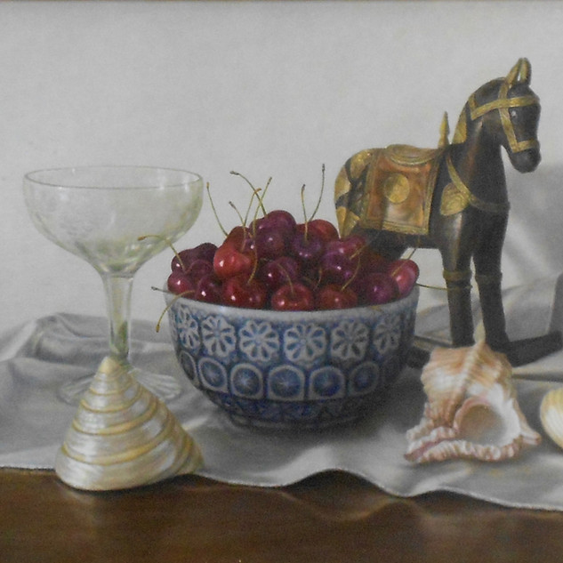 Sally Schrohenloher, Cherries and Toy Horse