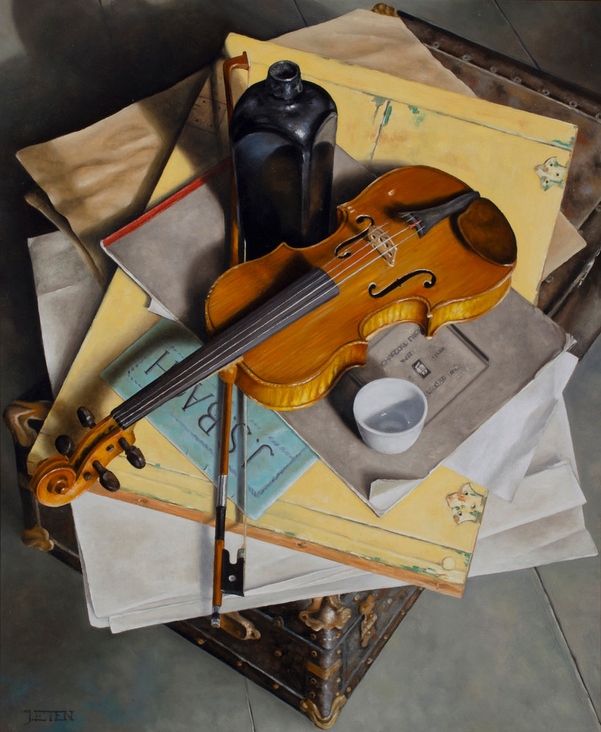 Violin with Gin Bottle on Trunk