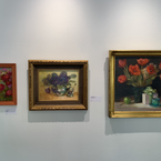 """From Left: Gail Morrison Paprika oil on panel 12"""" x 9""""  $600  Center:  Gail Morrison African Violets in Silver oil on linen panel  11"""" x 14"""" $950  Right: Gail Morrison The Gift oil on linen 20"""" x 20"""" $2100"""