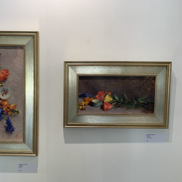 """From Left: Mary Beth Dowlin Arpeggio oil on linen 19"""" x 9""""  $1165  Right: Mary Beth Dowlin Overture oil on linen 7 1/2"""" x 15 1/2"""" $785"""