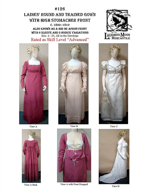Pattern #126 Regency Round or Trained Gown