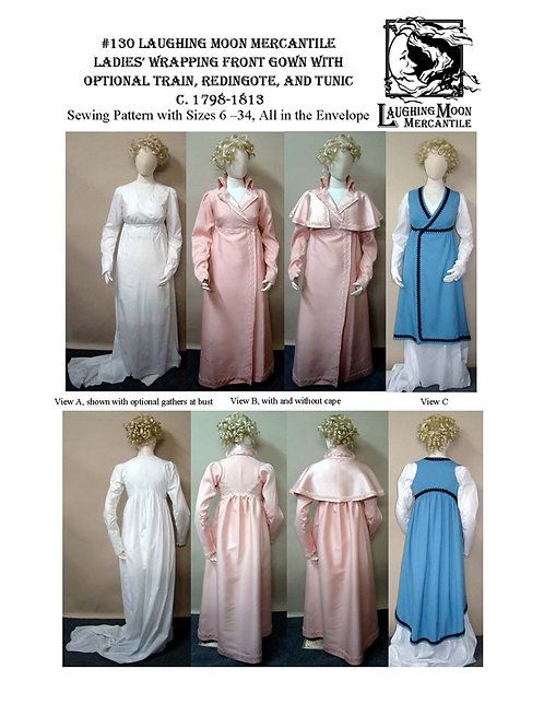 #130 Download - Regency Wrapping Front Trained or Untrained Gown/Tunic