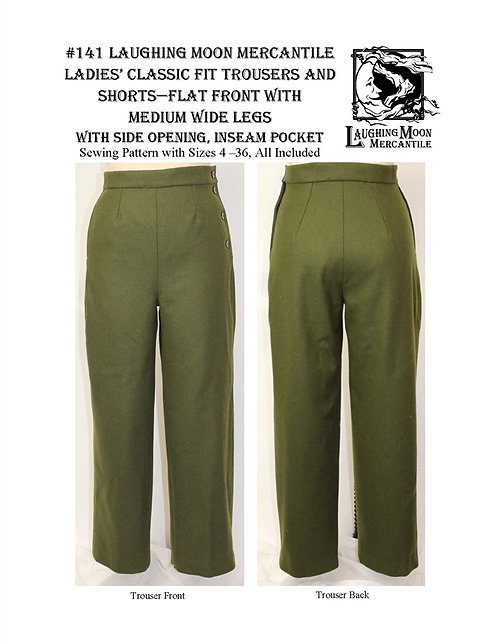 #141 Download - Ladies Classic Fit Trousers w/Medium Wide Legs