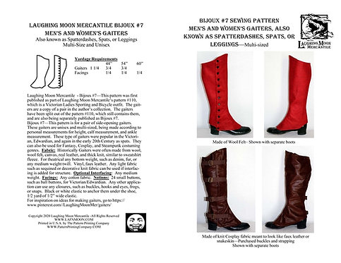 B7 - Download Men's and Ladies' Gaiters or Spatterdashes