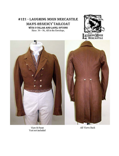 #121 Download - Men's Regency Tailcoat with 5 Collar and Lapel Options