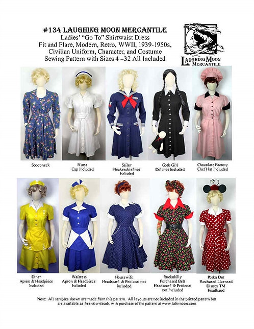 #134 Download - Ladies' Shirtwaist Dress - Modern, Retro, Historybounding