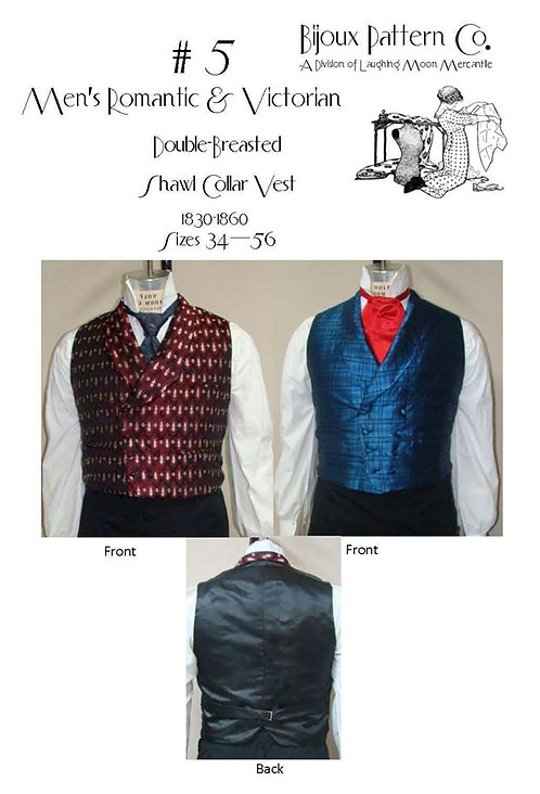 Pattern # BPC-5 Double Breasted Shawl Collar Vest