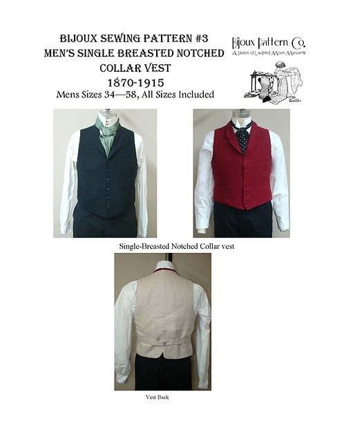 Pattern # BPC-3 Men's Notched Collar Vest